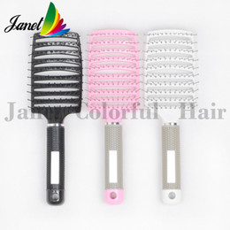 Wholesale Rubber Hair Pins - New design Plastic vent scalp curved hair brush with Nylon pins rubber handle Dyed Hair comb salon styling tools massage Brush