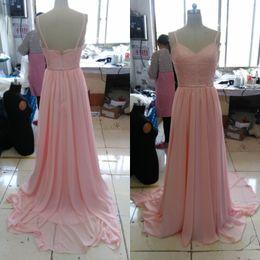 Immagini di nozze rosa online-Immagine reale Blush rosa abiti da damigella d'onore cinghie di spaghetti abito da damigella d'onore paese di pizzo lungo abito da cerimonia formale formale per gli ospiti