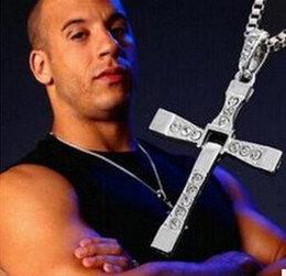 Wholesale Males Silver Pendants - Man Punk Necklace Male Cool Cross Choker Link Necklace Silver Gold color Stainless Steel Cross Charm Jewelry Pendent