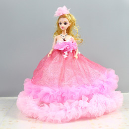 Wholesale 3d Real Dolls - 3D real eye big wedding Barbie doll pendant girl toy doll doll creative activities gifts wholesale 6 color mixed hair
