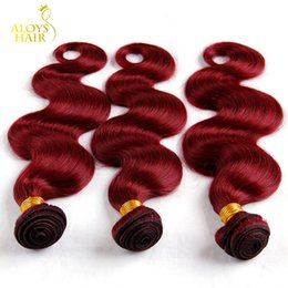 Wholesale Cheap Red Human Hair Extensions - Burgundy Mongolian Body Wave Virgin Hair Weave Bundles 3 4Pcs Grade 8A Wine Red 99J Wholesale Cheap Remy Human Hair Extensions Landot Hair