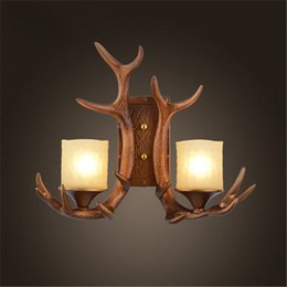 Wholesale Antler Room - Retro American Style Rural Industry Dual Heads Antler Wall Lamp Dining Room Cafes Bar Wall Light