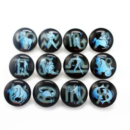 Wholesale Snap Ring Jewelry Making - 20 pcs 12 constellation Glass Snap Buttons Fit Jewelry Making 18mm Round Pendant For Snap Bracelet & Necklace DIY