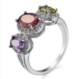 Wholesale Multi Color Stone Rings - 10 Pieces 1 lot LuckyShine Oval Fire White Multi-Color Crystal Cubic Zirconia 925 Sterling Silver Rings Sets Women Christmas Holiday Gift