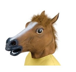 Wholesale Cheap Costumes For Halloween Wholesale - Cheap Price Creepy Horse Mask Head Halloween Costume Theater Prop Novelty Latex Rubber Party Masks