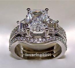 Wholesale Simulated Cz Diamond Sets - SZ5-11 Free shipping Fashion jewelry princess cut 10kt white gold filled GF white topaz CZ Simulated Diamond Wedding Lady women ring set