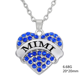 Wholesale jewelry making necklace designs - Factory Price Fashion Simple design Twinkling Rhodium Plated Three Color Crystal Heart Letter MIMI Mother Necklaces Pendant Jewelry Making