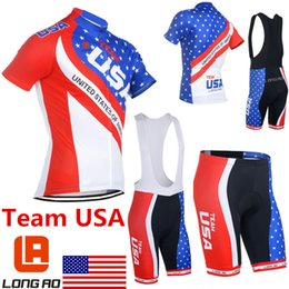 Wholesale America National - Wholesale-Newest 2015 Long Ao Short Sleeve Cycling Tops National Team USA Bicycle Jersey Cycling Bike Clothing America Clothes Wear Sets