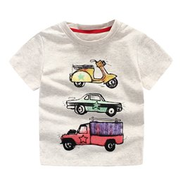 Wholesale Child Car Neck - Cool! boys Car print cotton short sleeve T shirts Quality summer O neck originality t-shirts for boy Children knitted clothing Kids chothes
