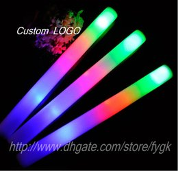 Wholesale Custom Sponge - Wholesale 2017 new high quality sponge stick LED light sticks concert party cheering stick Custom LOGO stickers stick free shipping