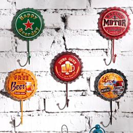Wholesale Wholesale Decorative Coat Hooks - Wholesale- Free Shipping! 3pcs lot Beer Cap Shape Round Vintage Style Metal Hook Wall Hanger Decorative Coat & Hat Hook Home & Pub Deco