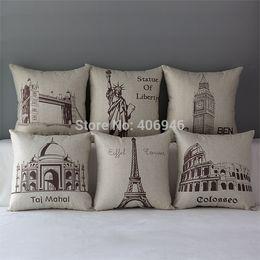Wholesale Famous Bridges - Wholesale-Newest 13 Styles Famous Building Eiffel Tower Big Ben Tower Bridge Pillow Cover Cushion Case Pillowcase Decorative 1Pc