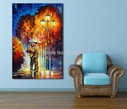 Wholesale Kissing Paintings - Kiss Goodbye at Rainy Night Modern Love Painting Palette Knite Oil Painting Canvas Print Wall Art Home Office Cafe Mural Decor