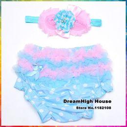 Wholesale Newborn Ruffled Diaper Cover - Wholesale-Cotton Baby Pants Bow Flower Headband Set,Cute Newborn girls Dots roupas Diaper Cover baby ruffle panties Accessories #3T0010