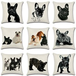 Wholesale French Sofas - Bulldog Printing Cushion Cover French Bulldog Pillow Case Home Sofa Decor Square Office Back Car Cushion Covers 10 Styles YFA51