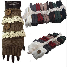 Wholesale Crochet Fingerless Gloves Wholesaler - Winter Gloves Warm Crochet Fitness Gloves Women Lace Button Wrist Warmer Ladies Soft White Fingerless Gloves Gants YYA744