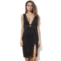 Wholesale Tight Black Mini Dresses - 2017 Latest Hot Sold Of Sexy Deep V-neck Tight-Titting Dress, Slim Dress, Party Dress, Showing A Good Figure