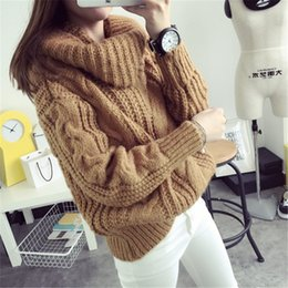 Wholesale Korean Winter Ladies Pullover - Korean Ladies Winter Sweaters and Pullovers Turtleneck Free Size Sweaters Women Solid Loose Thick Warm Knitted Sweater Pull Femme
