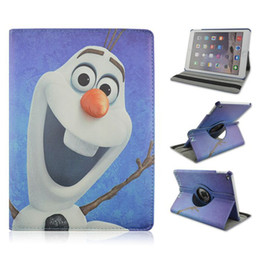 Wholesale Ipad Covers Stands Best - Best Selling Cartoon Cute Olaf Covers 9.7inch Folio Stand Smart Tablet Cover Cases For Apple iPad 2 3 4 Free Shipping