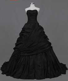 Wholesale Victorian Black Dress - 2015 new design black taffeta A-line Strapless Actual Images Pleated Ruffle Taffeta Floor Length gothic victorian black Wedding Dresses