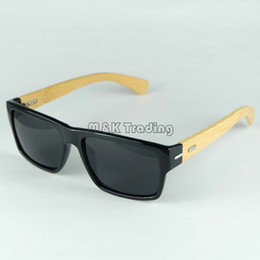 Wholesale Eyewear Bamboo - Logo Carved Custom Made Wood Sunglasses Square Black Designer Sunglasses Bamboo Temples And Plastic Frame Vintage Eyewear 4 Colors