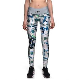 Wholesale Dollar Leggings - 2017 New 0071 Fashion Retro Flash $ dollar Money Prints Sexy Girl Pencil Yoga Pants GYM Fitness Workout High Waist Women Leggings