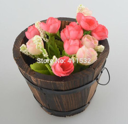 Wholesale Ornamental Flower Pots - Rustic Small Barrel Wooden Ornamental Flower Pot Flower Basket Flower Bow For Wedding Home Decoration