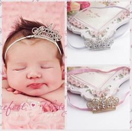 Wholesale Baby Crystal Crowns - Crown Baby Girls Headbands Shine Diamond Tiaras Boutique Hair Accessories Cute Infant Vintage Crystals Sparking Headbands H081