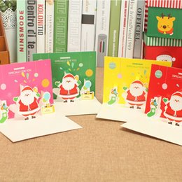 Wholesale Wholesalers For Invitation Papers - Christmas Snowman Greeting Card 3D Color Paper Gift Card Party Holiday Invitation Favors for Sale SD767