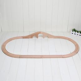 Wholesale Curve Training - 12pcs set Train Wooden Track Railway 3 Hole Arch Bridge Track straight curved tracks Free Shipping