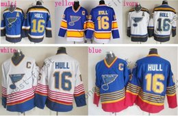 Wholesale Hockey Louis - Discount St. Louis Blues #16 Brett Hull Jersey CCM Blue Red White Cheap Stitched Hockey Jerseys C Patch Best Quality Mix Order
