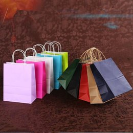 "Wholesale Crafts Shops - 8""x4.75""x10"" Brown Kraft Paper Bags Shopping Merchandise Bags Party Gift Craft Bags whole sale"