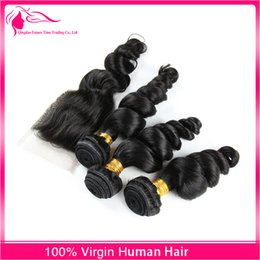 Wholesale Top Closures For Weaves - Loose Wave Lace Closure 4x4 With Virgin Hair Weaves 3Pcs Loose Wave Top Closure Pieces 4x4 With Hair Bundles For Black Woman