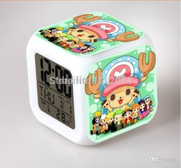Wholesale Mario Play Game - Wholesale-7 Colors Change One piece luffy Alarm Clock action figures Thermometer Night Colorful play games brinquedos