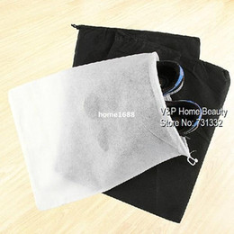 Wholesale Travel Storage Bags For Shoes - 20 pcs lot Black White Mesh drawstring bags for shoes Clothes Storage bag Zakka organizer Travel package Novelty household 8824