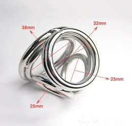 Wholesale male sex gadgets - Stainless Steel Penis Ring Cock Cage the four-dimensional Enhancer Male Sex Delay Gadget BDSM Adult Toy