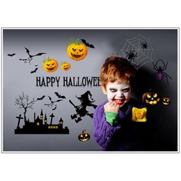 Wholesale Witches Wall Stickers - 20pcs lot Fantasy 50x70cm Wall Sticker Pumpkin Bat Witch Wallpaper House Wall Adornment Halloween Decorative Favors HN405