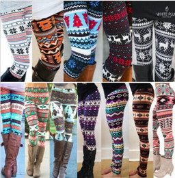 Wholesale Snowflake Print Leggings - Colorful christmas Snowflakes Reindeer Printed Silk Legging girls Women spring autumn Warm Bootcut Stretchy Pants Nordic