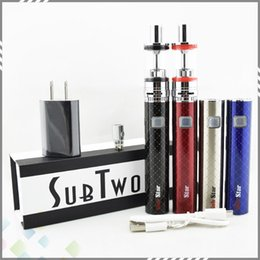 Wholesale Kits Two Cigarettes - Sub Two Starter Kit SUBTWO Electronic Cigarettes Vaporizer Atomizers Polymer 60W Battery 2200mah High quality DHL Free