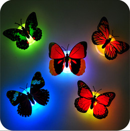 Wholesale Decor Optic Fiber - Colorful Butterfly Wall LED Night Lamp Fiber Optic Butterfly Night Light LED Room Decoration with Suction Pad Xmas Decor CYA2