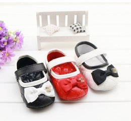 Wholesale Soft Elastic Wholesale - Girls Bow baby shoes 2016 New Bowknot PU Princess Shoes Cute Spring Toddler Fashion First Shoes soft-soled Prewalker XW089
