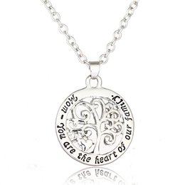 Wholesale Tree Life Family Gifts - Mom You Are The Heart Of Our Family Tree Of Life Chain Necklace Fashion Love Pendant Necklaces For Mother Gift 24inches