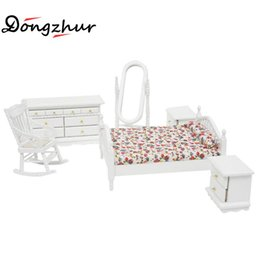 Wholesale Townhouse Dollhouse Furniture - Wholesale- Dollhouse Miniatures 1:12 Accessories Bedroom Toy Model White Floral Romantic Continental Furniture Bed Case Combination 6pc Set