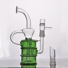 Wholesale Nail Cups - Green glass bong 14.4 mm joint dabber oil rig glass cup bongs dome nail hookah Glass water pipe