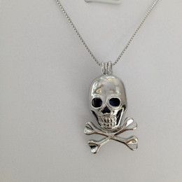 Wholesale Death Pendants - 18kgp Skull & Crossbones Shape Pearl  Gem Bead Cage Lockets, Death Skeleton style Wish Pendant Mountings for DIY Fashion Cool Jewelry Charms