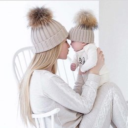 Wholesale Knitted Hats Big Ball - Mommy and Me Baby knit Hat Children With Big Real Fur Ball children knitting Ear Warmer Caps For winter