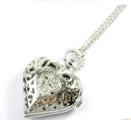 Wholesale Silver Tone Pocket Watch - Free shipping ---Antique Women Silver Tone fashionb style heart dress Quartz Pocket Watch Necklace Chain New WW004