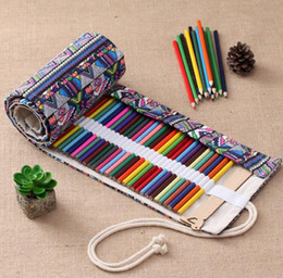 Wholesale Rolls Curtain - Vintage Printed Canvas Roll Up Pencil Holder Makeup Pen Case Bag Wrap Curtain Sketch School Supplies