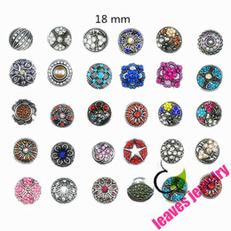 Wholesale Snaps Rhinestones - Wholesale-Hot wholesale 50pcs lot High quality Mix Many styles 18 mm Metal Snap Button Charm Rhinestone Styles Button Ginger Snaps Jewelry