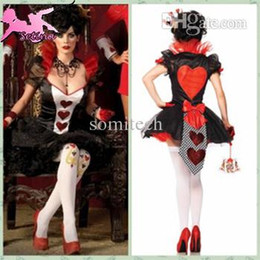 Wholesale Queen Playing Card - Wholesale-costume Red Playing Cards Queen Plus Size Dress cosplay Las Vegas Gambling King Disfraces christmas costumes FM027